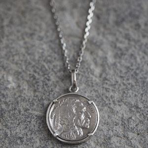 GJ Indian Head Buffalo Nickel Pendant necklace set in sterling silver