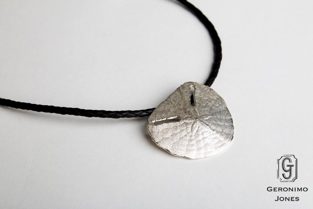 042b9f3d8 GJ Large Sterling Silver Sanddollar pendant necklace on leather braid. GJ  Large Sterling Silver Sanddollar pendant ...