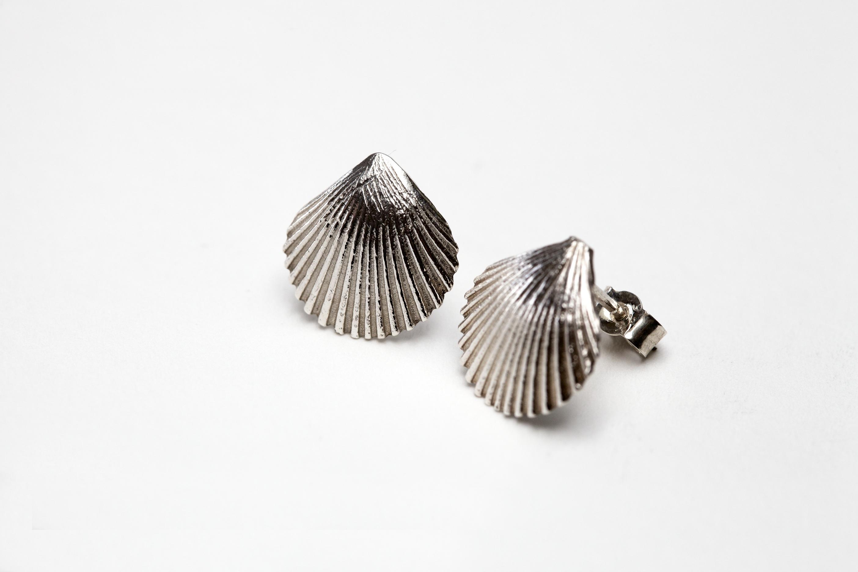 9079e613b Sterling Silver Fan Shell Earrings - Geronimo Jones