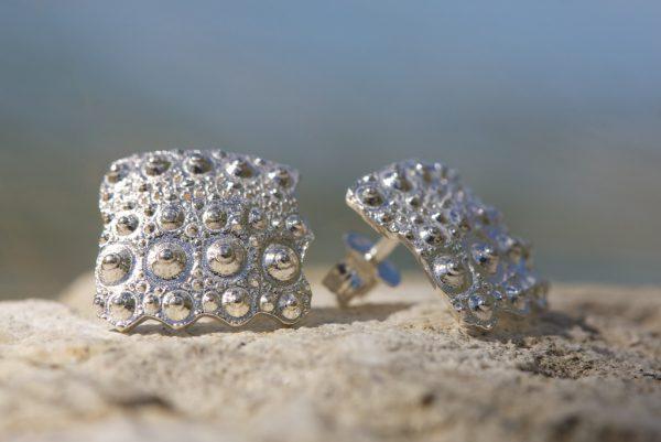 Solid Sterling Silver Urchin Earrings - sea urchin fragment