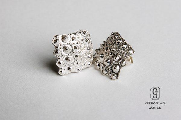 Solid Sterling Silver Urchin Earrings - cast sea urchin fragment