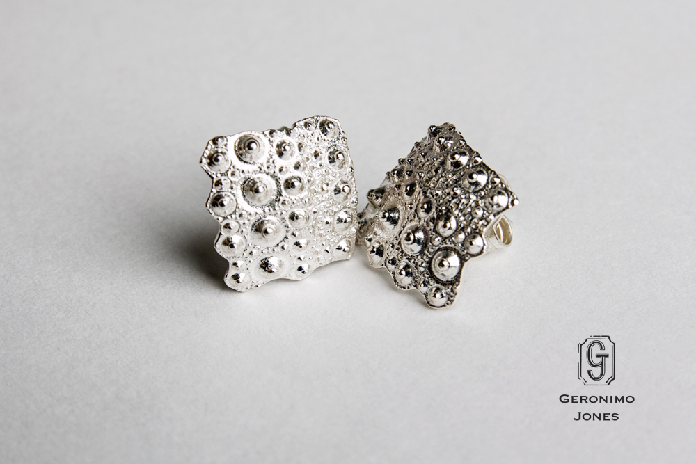 e65183f41 Solid Sterling Silver Urchin Earrings - cast sea urchin fragment