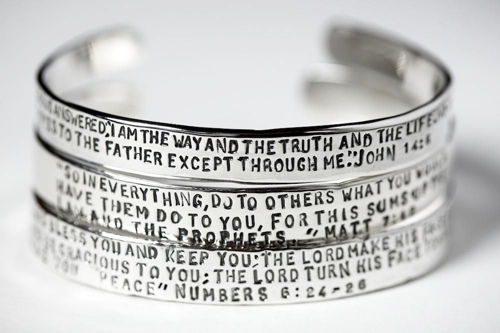 Sterling Silver Bible Verse Scripture Bangle Bracelets