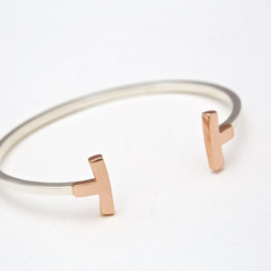 18 carat rose gold & Sterling silver Curved T-Bangle bracelet