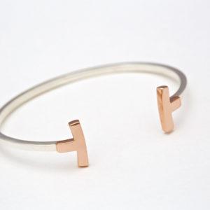 18 carat rose gold & Sterling silver Curved T-Bangle bracelet