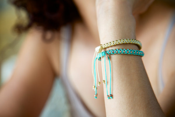 GJ Moyo Heart 18 carat Gold Beaded Bracelets
