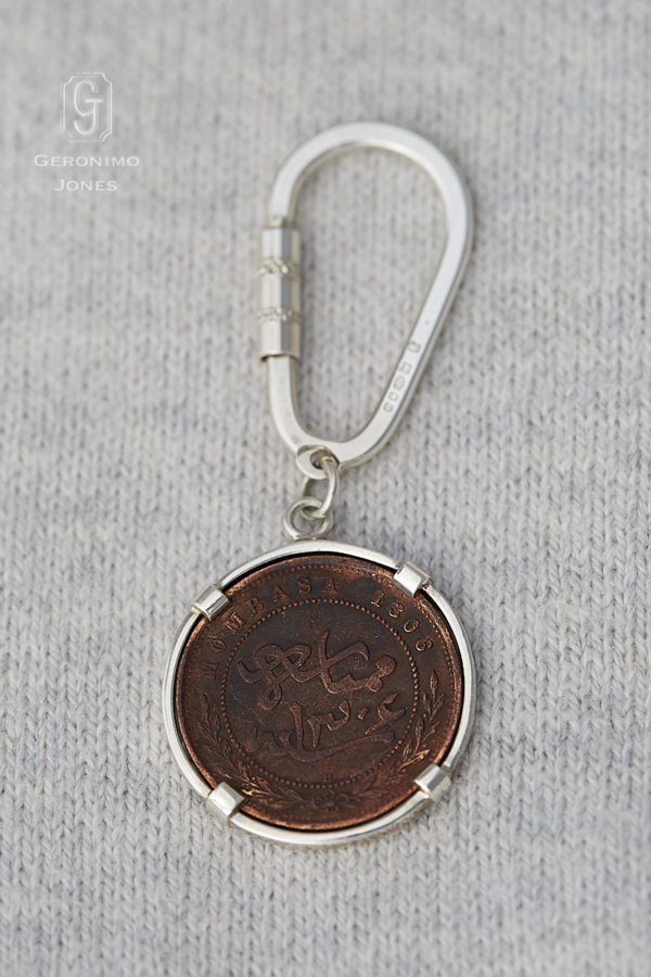 GJ East-Africa Mombasa 1 Pice coin Sterling silver keyring