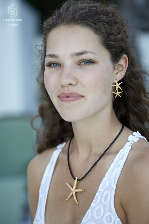 GJ Large Gold Starfish necklace with matching double starfish drop earrings