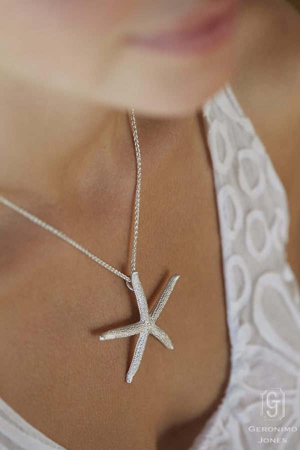 GJ Large English Sterling Silver Starfish necklace pendant on Sterling silver chain