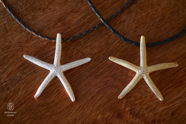 GJ Large sterling 18ct gold vermeil starfish pendant necklace