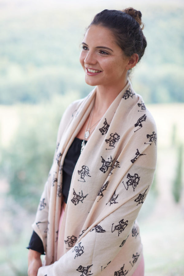 GJ Polo pashmina cashmere shawl. Unique 'Three Horsemen' design - lovely gift perfect present