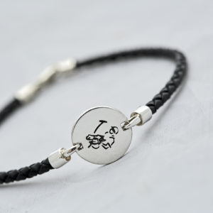 Polo Player Bracelet Round on Black Braid Leather