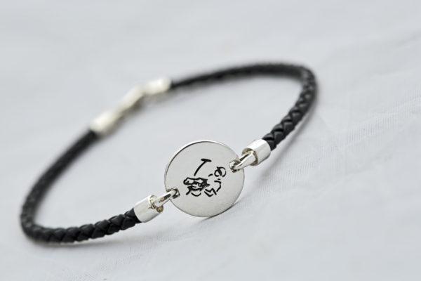 Polo Player Bracelet Round on Black Braid Leather