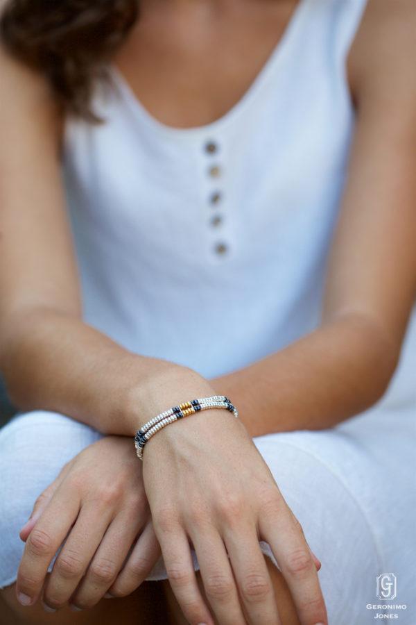 18 carat gold & Sterling silver hand beaded Shebelle double strand bracelet