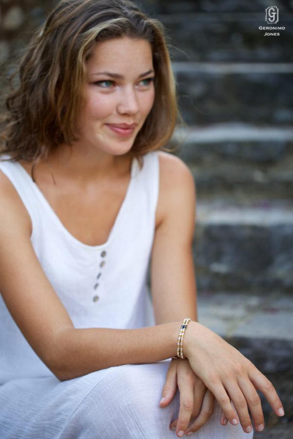 18 carat gold & Sterling silver hand beaded Nile double strand bracelet