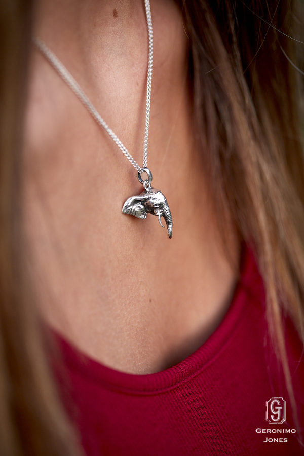 GJ Elephant Head Pendant Necklace in English Sterling silver on chain